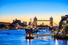 London skyline with Tower Bridge at twilight Royalty Free Stock Photos