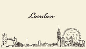 London skyline vector hand drawn engraved sketch Royalty Free Stock Photo