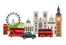 London skyline vector Illustration. Architecture and transport. England landmark, London city abstract street cartoon style. Isolated on white background stock illustration