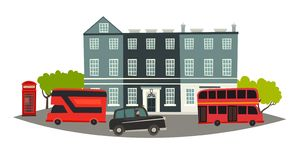 London skyline vector Illustration. House, Red telephone booth and england transport: black taxi and red traditional bus. London attraction hand drawn banner royalty free illustration