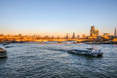 London skyline view towards Waterloo Bridge and the City Stock Image