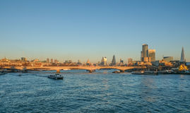 London skyline view of Waterloo Bridge and the City and the sout Stock Images