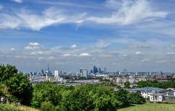 London-Skyline von Greenwich-Park Lizenzfreies Stockbild
