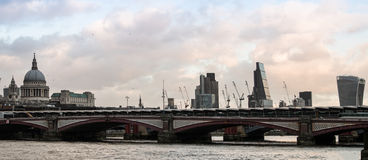 London Skyline. Winter evening skyline of the City of London from the South Bank across the Thames Stock Images