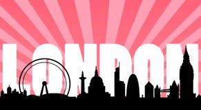 London-Skylinegrenzsteine und -text Stockfotos