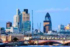 London Skylines. At dusk England UK Royalty Free Stock Images