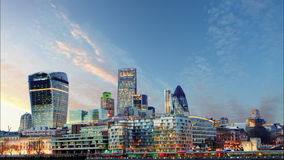 London Skylines at sunset - time lapse, UK Royalty Free Stock Image