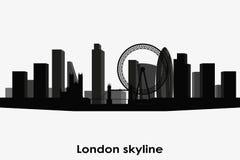 London-Skylineschattenbild Schwarzweiss-Stadtbild stockbild