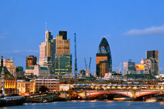 London Skyscrapers at Dusk Stock Photography