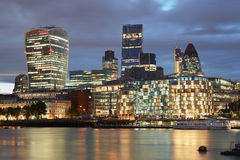London skyscrapers skyline view illuminated in the evening Stock Photo