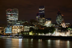 London skyscrapers skyline view illuminated at night Stock Photo