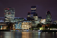London skyscrapers skyline view illuminated at night Royalty Free Stock Images