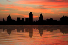 London skyscrapers at sunset. St Paul's cathedral and London skyscrapers at sunset illustration Stock Photography