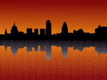 London Skyscrapers At Sunset. London skyline including St Pauls and skyscrapers at Sunset illustration Royalty Free Stock Photo