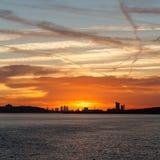 London solnedgång Arkivbilder