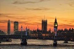 London solnedgång Royaltyfri Bild