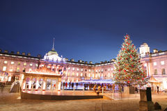 London Somerset House. Night View of Somerset House in Strand, London royalty free stock photos