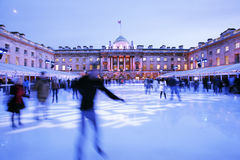 London Somerset House Ice Rink. Night View of Somerset House ice rink in Strand, London royalty free stock image