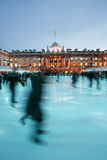 London Somerset House Ice Rink. Night View of Somerset House ice rink in Strand, London stock image