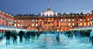 London Somerset House Ice Rink. Night View of Somerset House ice rink in Strand, London royalty free stock photography