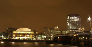 London South Bank. Night view of London South Bank with Royal Festival Hall royalty free stock images