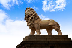 London south Bank Lion statue near Thames Stock Image