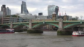 London Southwark Bridge, Thames River with Ships and Boats, Day Traffic View 4K stock video