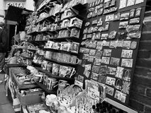 London souvenir memorabilia shop in London black and white Royalty Free Stock Photo
