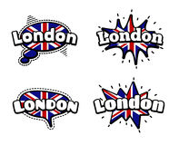 London Speech Bubbles. Fashion Patch Badge British Expressions, London Speech Bubbles. Set of London Stickers, Pins in Cartoon Comic Style royalty free illustration