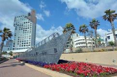 London Square in Tel Aviv - Israel. TEL AVIV - APR 11 2015:Illegal immigrant ship monument in London Square in Tel Aviv, Israel.It's a public space in honour the Royalty Free Stock Photos