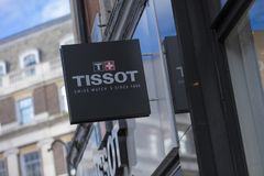 London, större London, Förenade kungariket, 7th Februari 2018, ett tecken och logo för Tissor royaltyfri foto