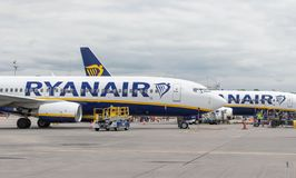 London, 31st May 2019: Two Ryanair flights preparing for takeoff from Stansted airport. Ryanair is Europe`s biggest low cost royalty free stock image
