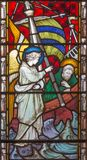London - The St. Paul and the angel at the strom on the sea on the stained glass in St Mary Abbot`s church. LONDON, GREAT BRITAIN - SEPTEMBER 19, 2017: The St royalty free stock photos