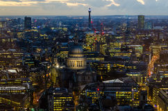 London, St Paul Cathedral and skyline at night Royalty Free Stock Photo