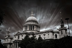 London St Paul Pauls Cathedral in England. London St Paul Pauls Cathedral facade in England Royalty Free Stock Photography
