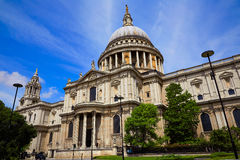 London St Paul Pauls Cathedral in England. London St Paul Pauls Cathedral facade in England Royalty Free Stock Images