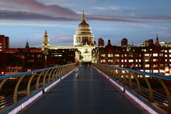 London St Paul Pauls cathedral from Millennium. Bridge on Thames UK Royalty Free Stock Image