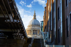 London St Paul Pauls cathedral from Millennium Stock Images