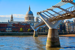 London St Paul Pauls cathedral from Millennium. Bridge on Thames UK Stock Images