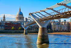 London St Paul Pauls cathedral from Millennium Royalty Free Stock Photo