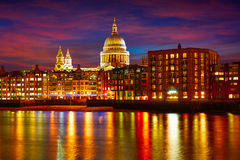 London St Paul Pauls cathedral from Millennium. Bridge on Thames UK Stock Photos