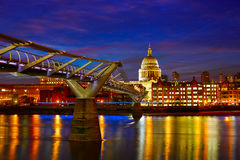London St Paul Pauls cathedral from Millennium. Bridge on Thames UK Stock Image