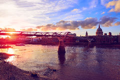 London St Paul Pauls cathedral from Millennium. London St Paul Pauls cathedral sunset from Millennium bridge on Thames UK Royalty Free Stock Photos