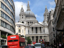 London, St. Paul's and Double Decker Bus Stock Photography