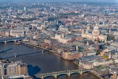 London st pauls bridges and river from the shard. London st pauls, bridges, southwalk and river thames from the shard stock photo