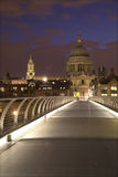 London - st. Pauls cathedral and modern bridge Stock Photos