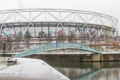 London Stadium in snow, Queen Elizabeth Olympic Park royalty free stock images