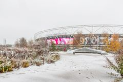 London Stadium in snow, Queen Elizabeth Olympic Park stock images