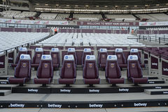 London Stadium - Substitution Bench Royalty Free Stock Image