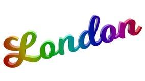 London-Stadt-Name kalligraphisches 3D machte Text-Illustration gefärbt mit RGB-Regenbogen-Steigung Lizenzfreie Stockfotografie